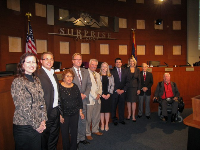 City of Surprise Council member with leadership from Mainstreet at the November 17 Regular Council meeting.